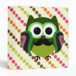 Retro Owl with Mustache 3 Ring Binders