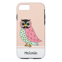 Retro Owl with Mustache Add Name iPhone 8/7 Case