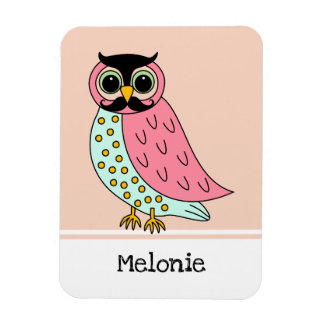 Retro Owl with Mustache Add Name Magnet