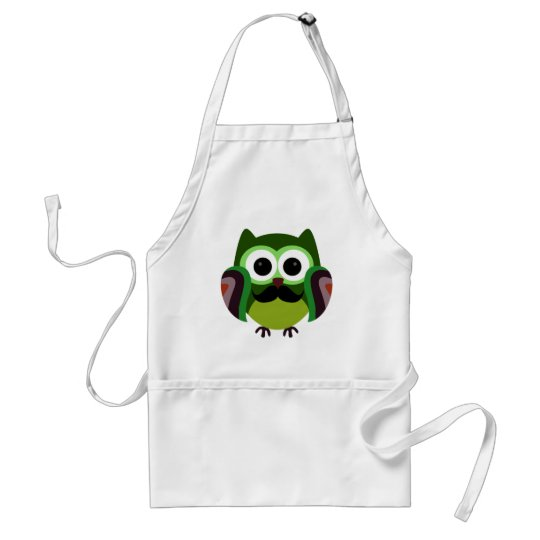Retro Owl with Mustache Adult Apron