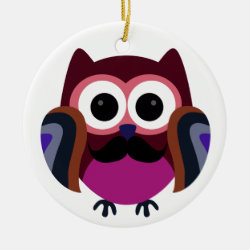 Circle Ornament with Cartoon Owls with Mustaches design