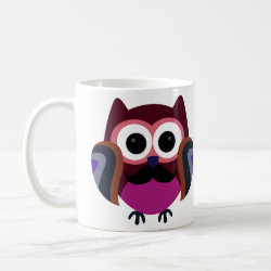 Classic White Mug with Cartoon Owls with Mustaches design