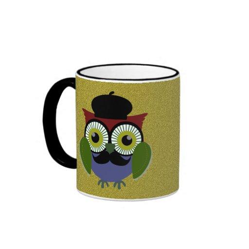 Retro Owl with Mustache Coffee Mugs