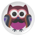 Retro Owl with Mustache Dinner Plate