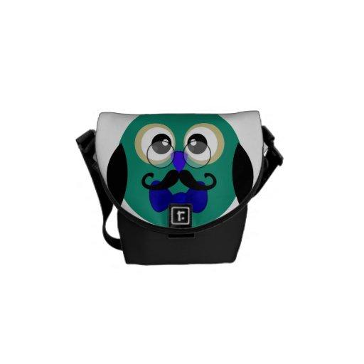 Retro Owl with Mustache & Glasses Messenger Bag
