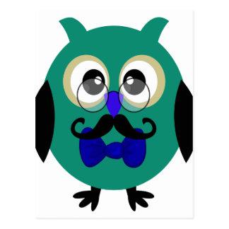 Retro Owl with Mustache Glasses Post Card