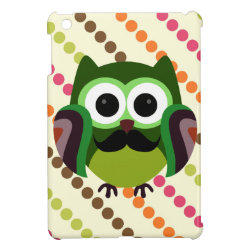 Case Savvy iPad Mini Glossy Finish Case with Cartoon Owls with Mustaches design