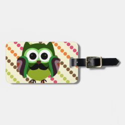 Small Luggage Tag with leather strap with Cartoon Owls with Mustaches design