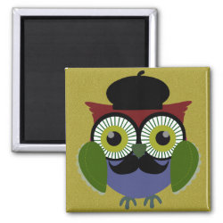 Square Magnet with Cartoon Owls with Mustaches design