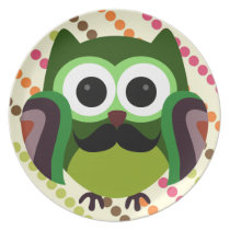 Retro Owl with Mustache Melamine Plate