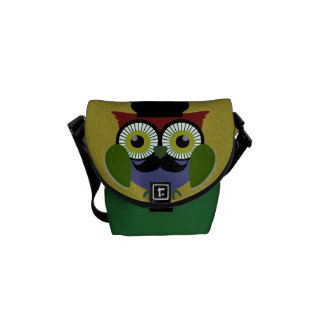 Retro Owl with Mustache Courier Bags
