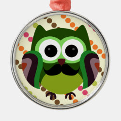 Premium circle Ornament with Cartoon Owls with Mustaches design