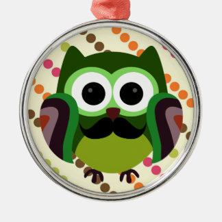 Retro Owl with Mustache Metal Ornament