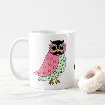 Retro Owl with Mustache Monogram Coffee Mug