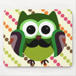 Mousepad with Cartoon Owls with Mustaches design