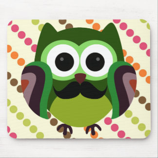 Retro Owl with Mustache Mouse Pad