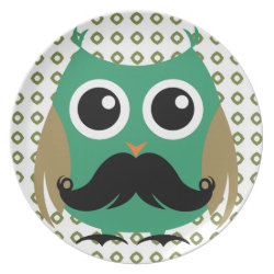 Plate with Cartoon Owls with Mustaches design