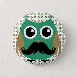 Round Button with Cartoon Owls with Mustaches design