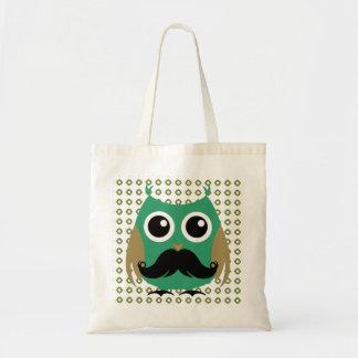 Retro Owl with Mustache Moustache Stache Tote Bag