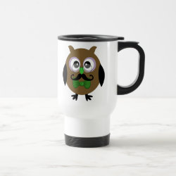 Travel / Commuter Mug with Cartoon Owls with Mustaches design