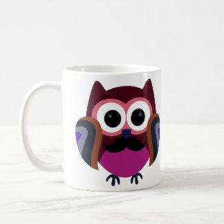 Retro Owl with Mustache Classic White Coffee Mug