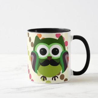Retro Owl with Mustache Mug