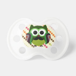 BooginHead® Custom Pacifier (6+ Months) with Cartoon Owls with Mustaches design