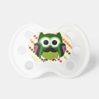 Retro Owl with Mustache Baby Pacifier