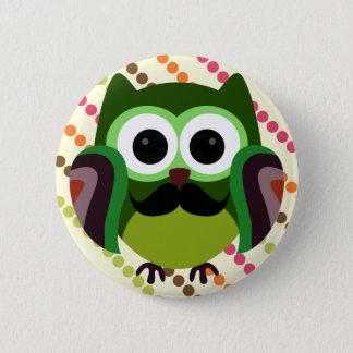 Retro Owl with Mustache Pinback Button