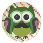 Retro Owl with Mustache Plates
