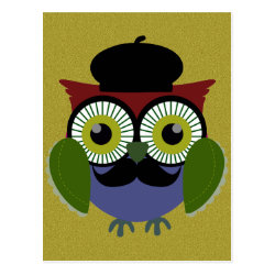 Postcard with Cartoon Owls with Mustaches design