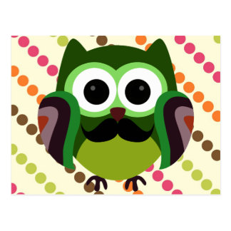 Retro Owl with Mustache Postcard