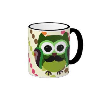 Retro Owl with Mustache Ringer Mug