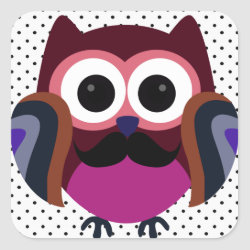 Square Sticker with Cartoon Owls with Mustaches design