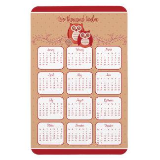 Retro Owls 2012 Calendar Magnet