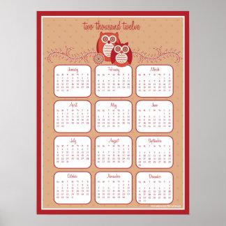 Retro Owls 2012 Calendar Poster