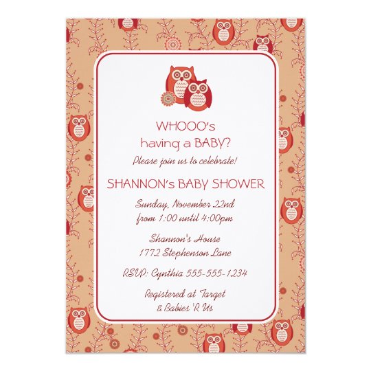 Retro Owls Baby Shower Invitation