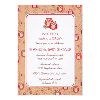 "Retro Owls Baby Shower Invitation 5"" X 7"" Invitation Card"