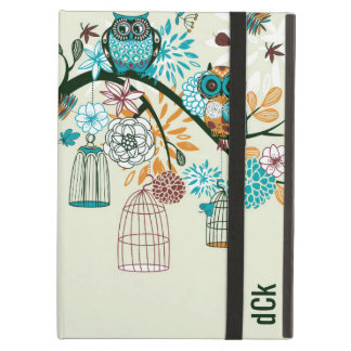 Retro Owls Birdcages & Flowers Cover For iPad Air