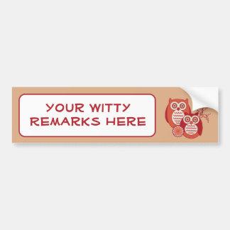 Retro Owls Bumper Sticker