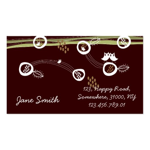 Retro Owls Family Cute Whimsical Stripes Nest Fun Business Card Template