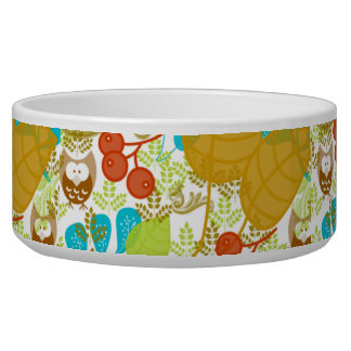 Retro Owls Leaves Fruit in Turquoise Green Brown Bowl