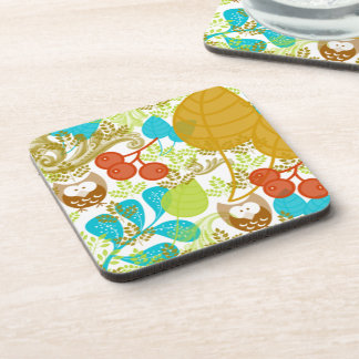 Retro Owls Leaves Fruit in Turquoise Green Brown Drink Coaster