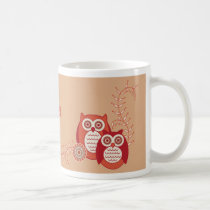 Retro Owls Name Mug