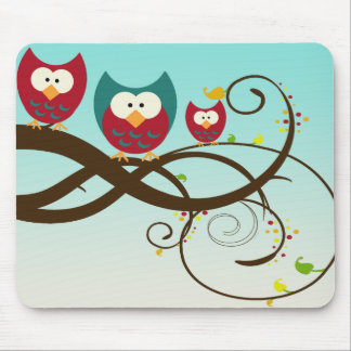 Retro Owls on Swirly Branch Mousepad