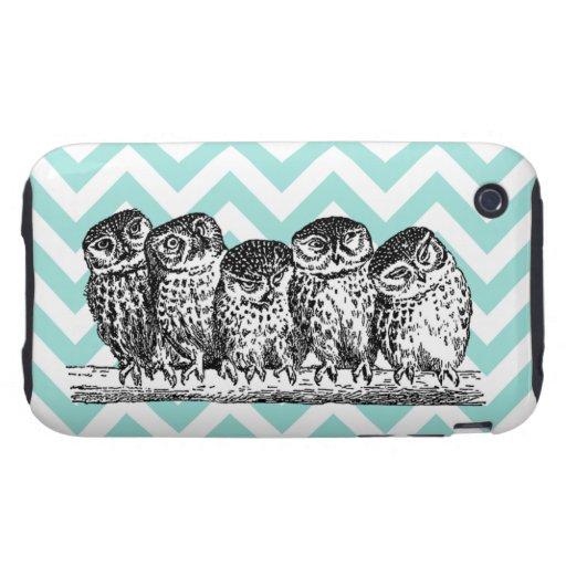 Retro Owls Perched on a Branch iPhone 3G/3GS Case Tough iPhone 3 Covers