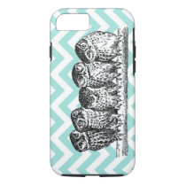 Retro Owls Perched on a Branch iPhone 7 case or Ca