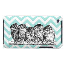 Retro Owls Perched on a Branch iPod Touch Case