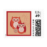 Retro Owls Square Stamp