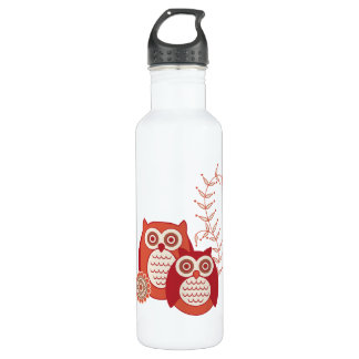 Retro Owls Stainless Steel Water Bottle